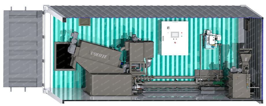 Containerized solution - VOLUTE dewatering press